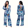 2016 Aliexpress Hot Sell European and American Style Strap Digital Printing Middle-waisted Sexy V -neck Jumpsuit