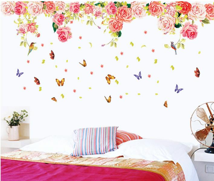 Easy Clean PVC Elegant Flower Butterfly Wall Stickers Graceful Rose Wall Stickers Furnishings Romantic Living Room Decoration