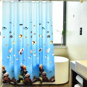 Image 1 - עמיד למים אמבטיה אמבט וילון Peva כחול אוקיינוס טרופי דגי חוף 3d חם עם ווי פלסטיק מתנה