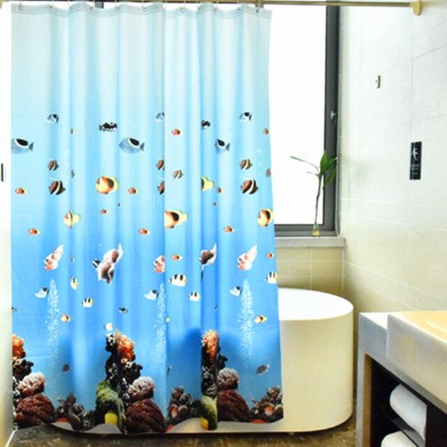 עמיד למים אמבטיה אמבט וילון Peva כחול אוקיינוס טרופי דגי חוף 3d חם עם ווי פלסטיק מתנה