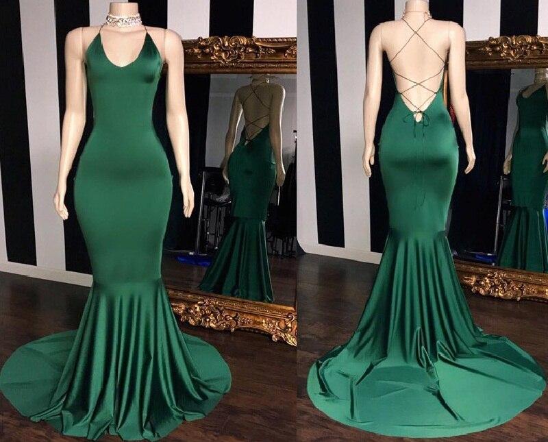 Sexy V-neck Green   Prom     Dresses   Long 2019 Elastic Satin Mermaid Evening   Dress   For Women Cheap Sale Vestidos de fiesta de noch