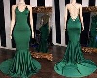 Sexy V neck Green Prom Dresses Long 2019 Elastic Satin Mermaid Evening Dress For Women Cheap Sale Vestidos de fiesta de noch