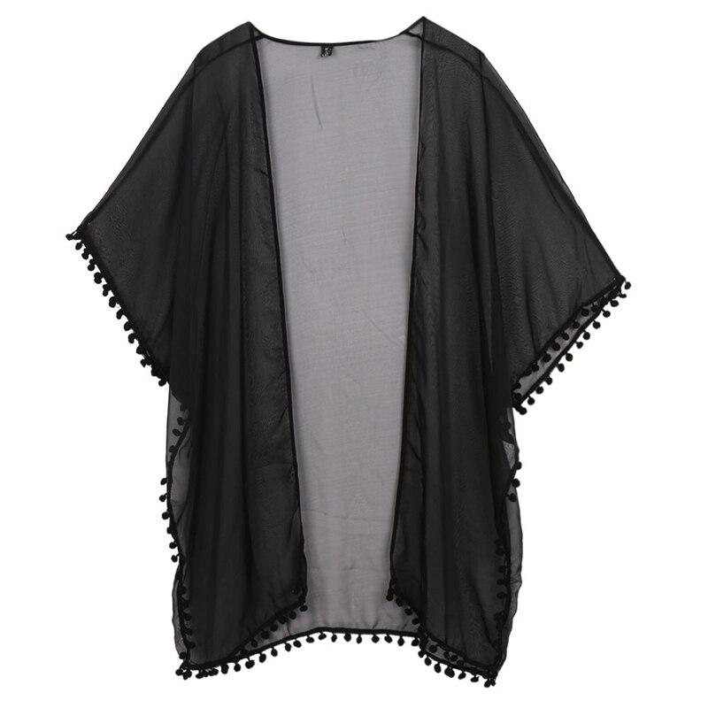 Women Chiffon Kimono Cardigan Boho Short Sleeve Plus Size