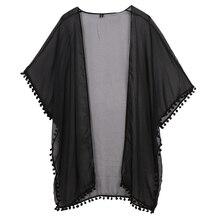 Women Chiffon Kimono Cardigan Boho Short Sleeve Plus Size Long Blouse Solid Side Split Perspective