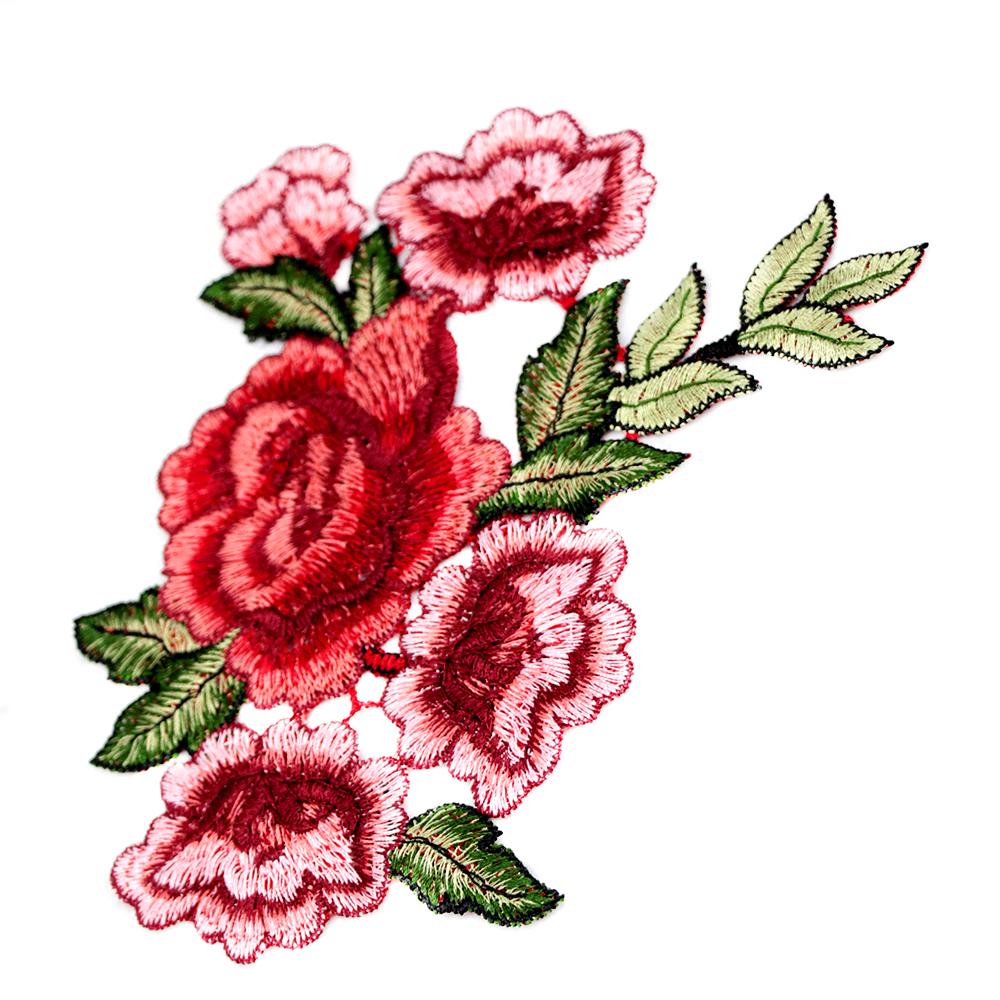 2Pcs Embroidery Red Rose Flower Sew On Patch Badge-Clothes Fabric Applique UK