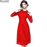 Readit Dentelle Robe 2018 Printemps Femme Robe Col Arc Veau Longueur rouge Dentelle Robe de Bal de la Mode Preppy Mignon Dentelle Robe D2753