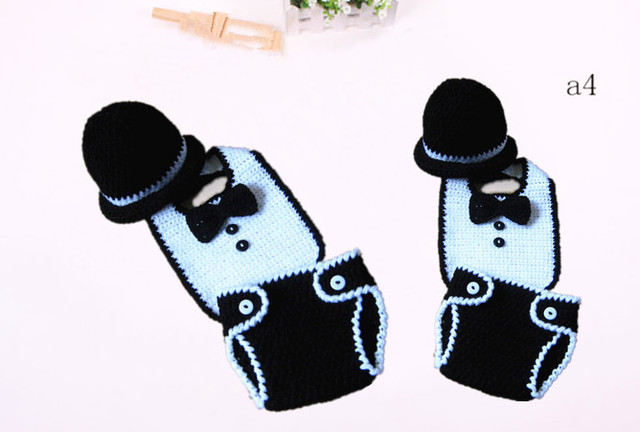 df926a4bb US $16.5 |Newborn Newsboy Hat Diaper Cover gentleman Bow Tie Set Crochet  Photo Prop 0 12 Months-in Holidays Costumes from Novelty & Special Use on  ...