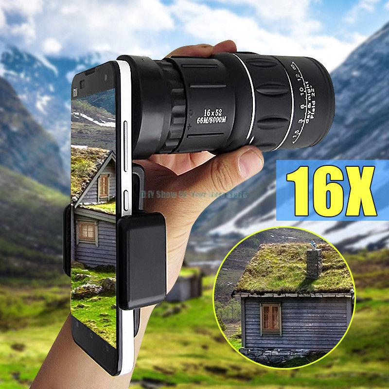 16x52 Hiking Concert Camera Lens Monocular Telescope +Holder