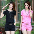 2016 Set 2 women work wear suits top+shorts overalls woman clothes summer short-sleeve rompers white,black,yellow,pink S~XXL