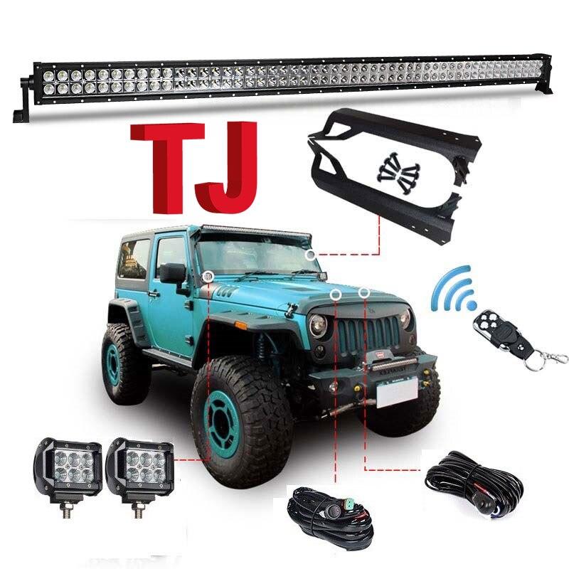Mount Brackets 97-06 Jeep TJ Wrangler Wiring 50inch 288W LED Light Bar 18W