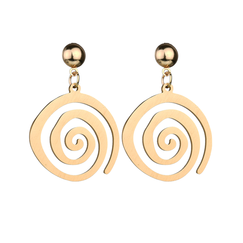 Misscycy Earrings Stainless-Steel Round Stud Fashion Jewelry Women Punk for Spiral Gold-Color