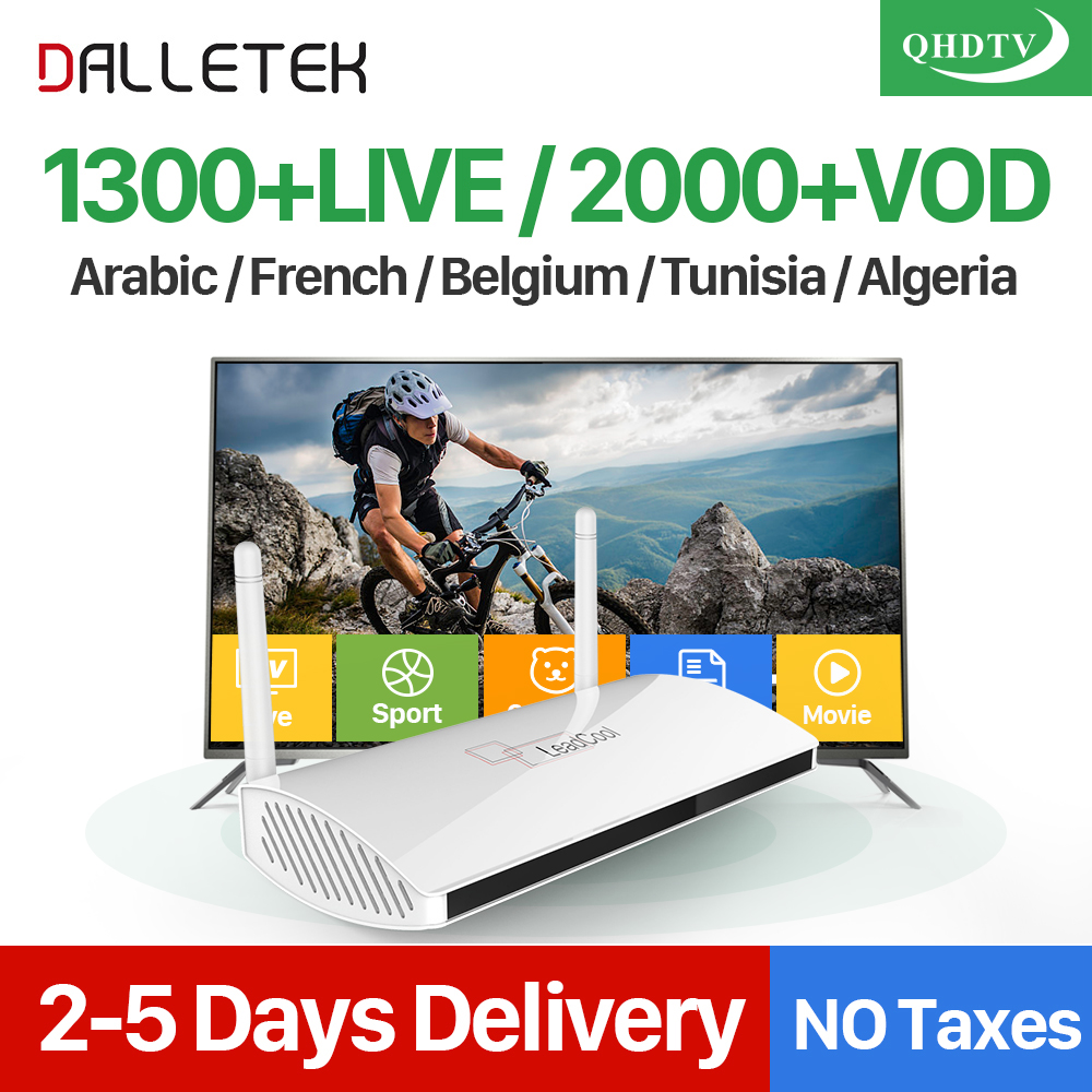 Dalletektv Arabic IPTV Box Leadcool Smart Android TV Box 1 Year QHDTV IPTV Subscription 1300 Channels Turkish French IPTV Box 1150 channels free iptv ip s2 plus smart tv box dvb s2 satellite receiver hd full 1080p 1 year europe arabic italian smart iptv