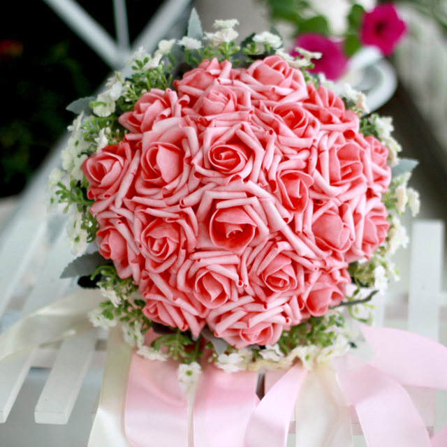 Online Shop Milan flowers and roses Many color Artificial Bride ...