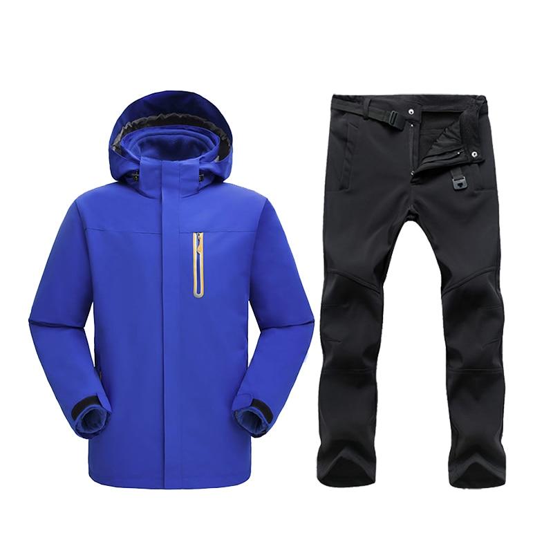Veste de Ski d'hiver convient aux hommes veste de neige polaire imperméable manteau thermique extérieur Ski de montagne Snowboard veste pantalon costumes