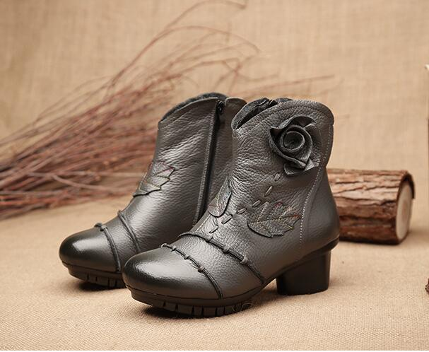 2018 Hot New Round Toe Boots Elegant High Heeled Shoes Genuine Leather Ankle Boots Comfortable Woman Casual Platform Boots S016