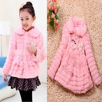2016 new girl fur coat fashion girl coats children jacket kids Pink Leather grass children Open body outerwear conjunto infantil
