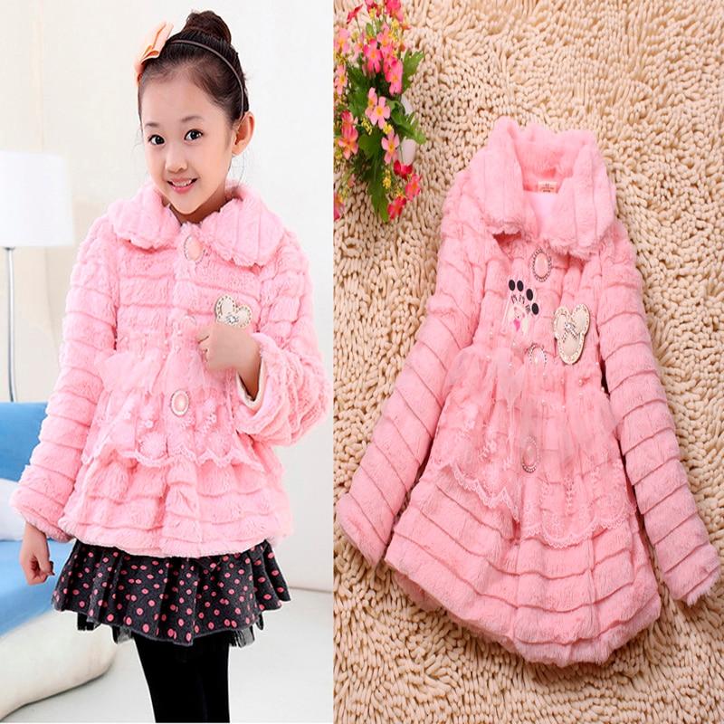 dffd967f3 2016 new girl fur coat fashion girl coats children jacket kids Pink ...