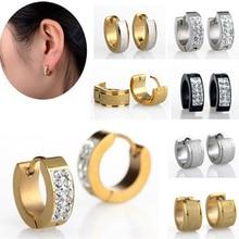 1Pair Hot Punk Mens Women Crystal 316L Stainless Steel Hoop Huggie Earrings Gauges Gold Silver Plated Chic Jewelry Drop Free