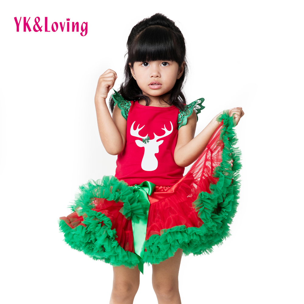 Kids Skirt Sets Girls Clothes Suit 2018 New Christmas Clothing Sets Red T-Shirt+Tutu Skirts Headband 3pcs Baby Children Cloting newborn toddler girls summer t shirt skirt clothing set kids baby girl denim tops shirt tutu skirts party 3pcs outfits set