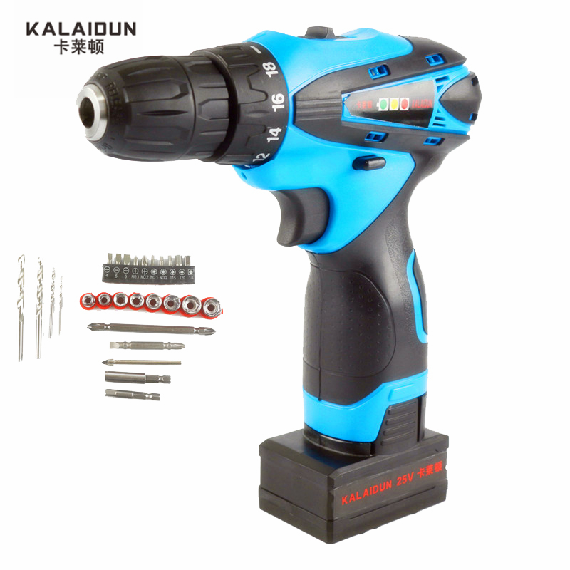 KALAIDUN 25V Electric Screwdriver Power Tools Mini Electric Drill Lithium Battery Cordless Drill Hand Tools With 27pcs Bit free shipping brand proskit upt 32007d frequency modulated electric screwdriver 2 electric screwdriver bit 900 1300rpm tools