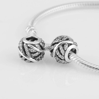 Lw305 neue klarem kristall pflastern feder lose beads100 % 925 sterling silver charm kompatibel mit pandora stil diy armbänder