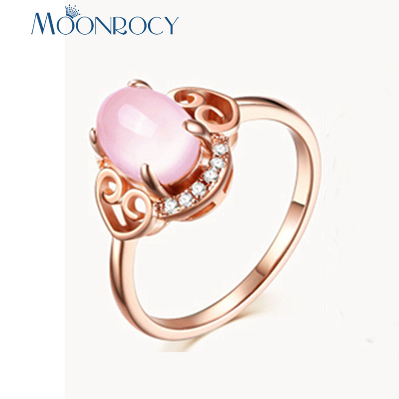 MOONROCY Rose Gold / Silver CZ Crystal Pink Opal Rings Vintage Green Heart Wedding Jewelry Wholesale for Women Girls Gift Drop
