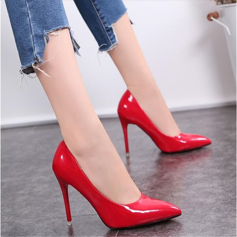 Big Size Shoes Women High Heels 2019 Summer Basic Office Ladies Shoe Pumps Fashion Pointed Concise Leather Heel Zapatos De Mujer