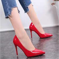 Zapatos de talla grande para mujer zapatos de tacón alto 2019 para oficina básica de verano zapatos de mujer zapatos de tacón de cuero conciso de moda mujer