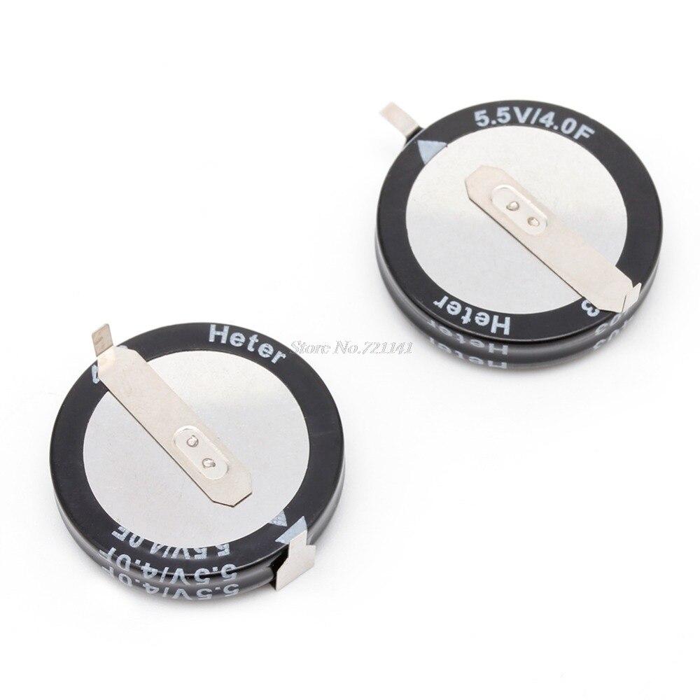 2 Pcs 4.0F 5.5 V Super Capacitor H-Type Button Smart Capacitance Universal