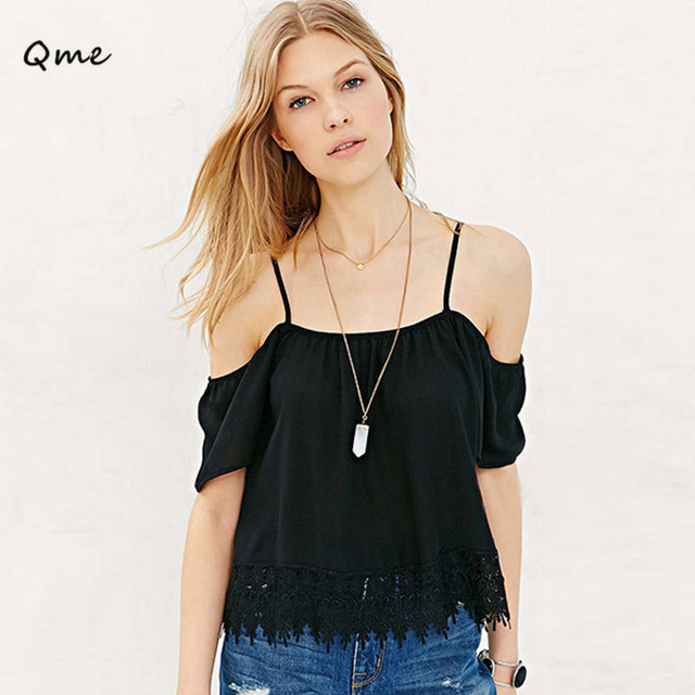 00f549e8063 Women tops off shoulder blouse Chiffon Straps Top With Crochet Lace Details  white black women summer style shirts WD471