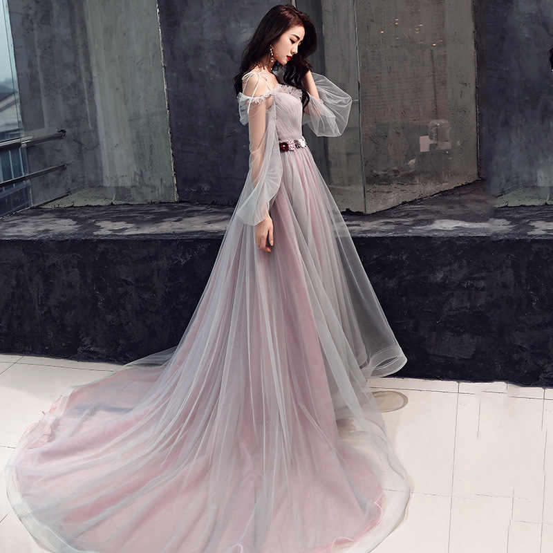 2019 new noble ladies long-sleeved trailing annual meeting hosted fairy dress sling long female banquet evening dress