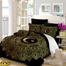 Golden Mandala Bedding Set Boho Moon Star Print Duvet Cover Black Bed Twin Full King Queen Pillowcase Home Decor D25