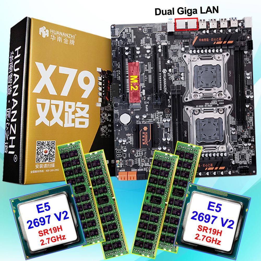 Discount computer hardware HUANAN ZHI dual X79 LGA2011 motherboard with M.2 slot CPU Intel Xeon E5 2697V2 2.7GHz RAM 64G(4*16G) 1