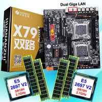 Descuento de hardware de computadora HUANAN ZHI dual X79 LGA2011 Placa base con M.2 ranura CPU Intel Xeon E5 2697V2 2,7 GHz RAM 64G (4*16G)