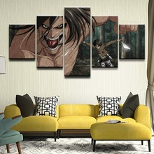HD Prints Canvas Home Decor Pictures 5 Pieces Attack on Titan Eren Yeager Shingeki No Kyojin Painting Wall Art Anime Poster