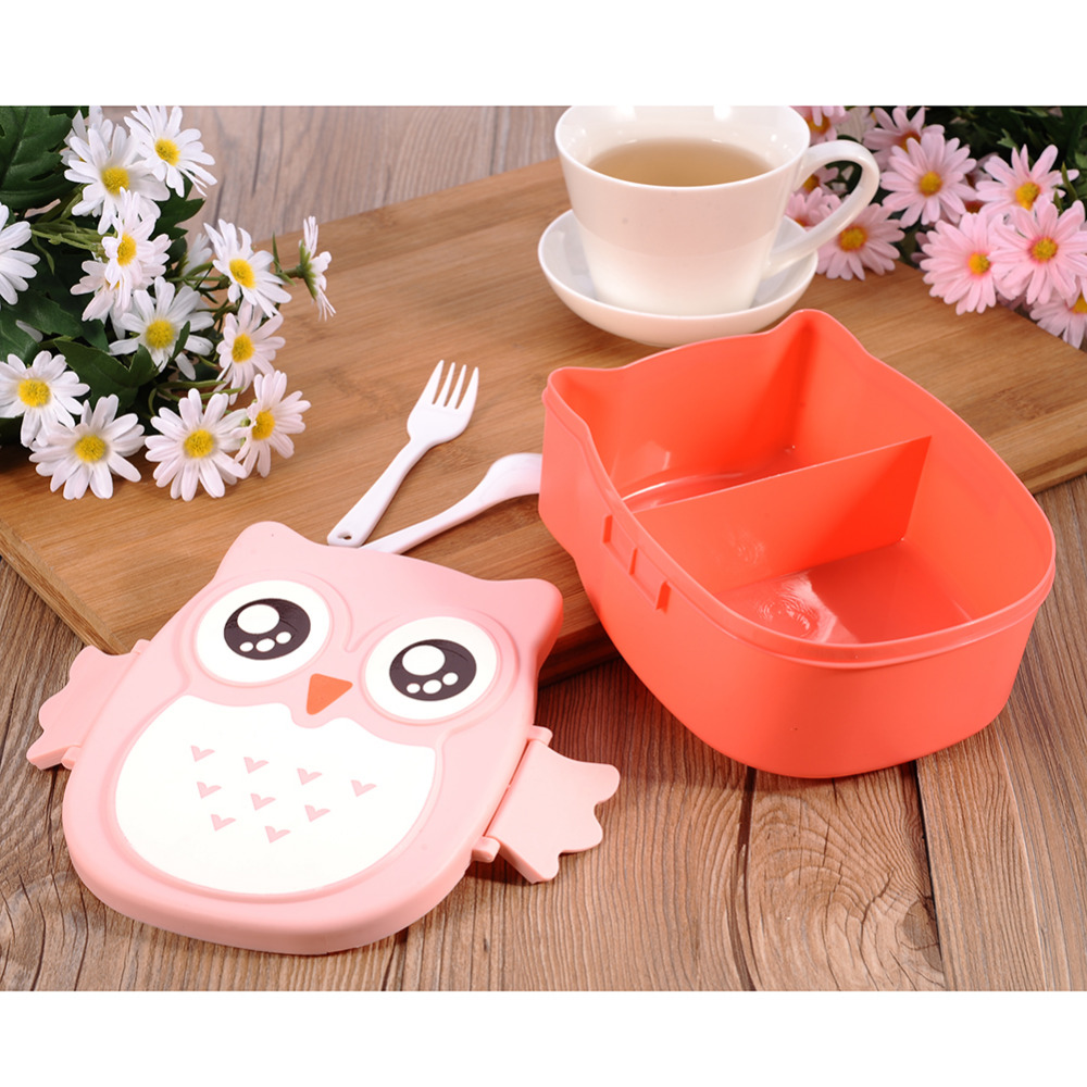 Cartoon Owl 900ml Lunch Boxs Bento Food Fruit Storage Container Portable Dinner Box Food-Safe Food Picnic Container Kids Gifts(China (Mainland))