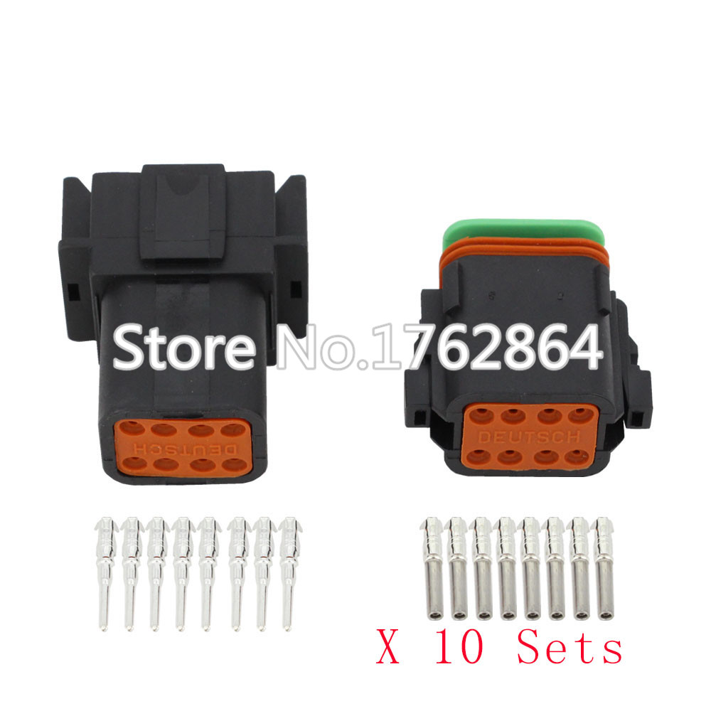 Black 10 Sets DJ3081Y-1.6-11/21 Deutsch Connectors 8 Pin DT04-8P/DT06-8S  waterproof wire electrical connector plug 22-16AWG black 50 sets 4 pin dj3041y 1 6 11 21 deutsch connectors dt04 4p dt06 4s automobile waterproof wire electrical connector plug