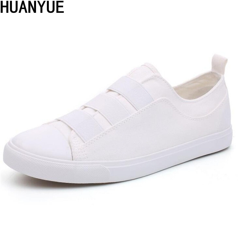 New Men Canvas Rubber Soled Shoes Spring and Autumn Slip On Light Breathable Casual Fashion Vulcanized Shoes High Quality White