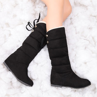 Winter Boots Women Mid Calf Shoes Female Wedges High Snow Boots Height Increasing Faux Suede Botas Short Plush Red Size 35 43