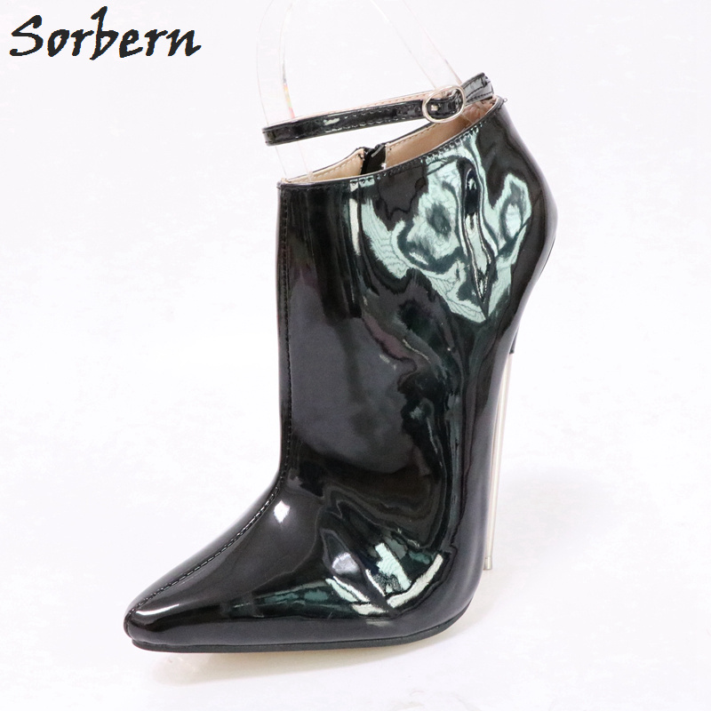 Sorbern Shiny Black Ankle High Pumps 18Cm Metal Fetish High Heels Ankle Ladies Party Shoes Custom Green Pump Heels AvailableSorbern Shiny Black Ankle High Pumps 18Cm Metal Fetish High Heels Ankle Ladies Party Shoes Custom Green Pump Heels Available