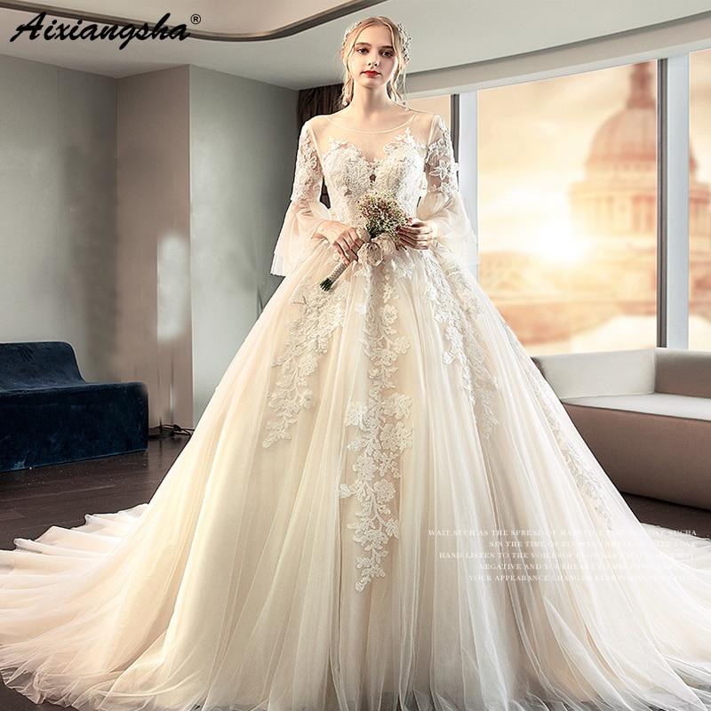 Beautiful Wedding Dresses 2019: Beautiful Applique Lace Tulle Floor Length Wedding Dress
