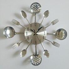 Echte Metalen Wandklok Mes Keuken De Decoratie Quartz Mute Moderne Scheidt Naald Klokken Horloge Thuis
