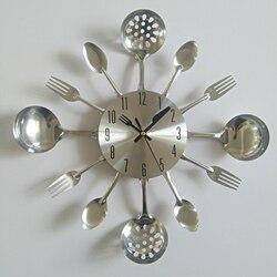 Prawdziwe metalowy zegar ścienny nóż kuchenny dekoracji kwarcowy wyciszenie nowoczesny oddziela igły zegarek zegary domu