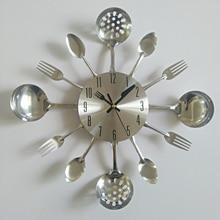 Reloj de pared de metal auténtico, cuchillo de cocina, decoración, de cuarzo, silencioso, moderno, separado, de agujas, para el hogar