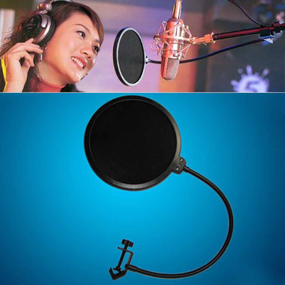 Marsnaska Flexible Gooseneck Shied Pop Filter Double Layer Studio Microphone Mic Wind Screen Mask Microphone Accessories