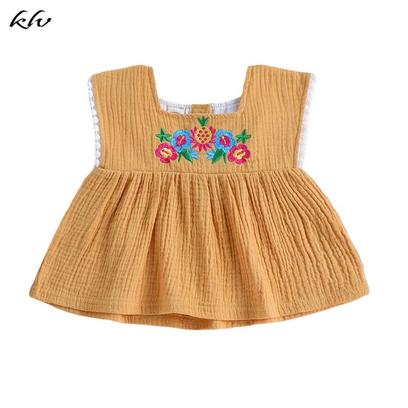 Newborn Infant Baby Girl Clothes Embroidered Sleeveless Ruffled Cotton Top Summer T Shirt Tank Dropshipping