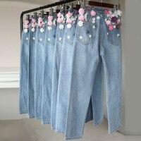 Новинка 2018 г. Модные ручной вышивки бисером трехмерные цветы высотой талии прямые джинсы брюки