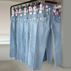 New 2018 fashion handmade embroidery  beading three-dimensional flowers tall waist straight jeans trousers