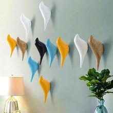 Bird Hook Decorative Wall Coat Hangers Solid Wood Bag Hanger White Black Blue Yellow Colorful Modern Bathroom