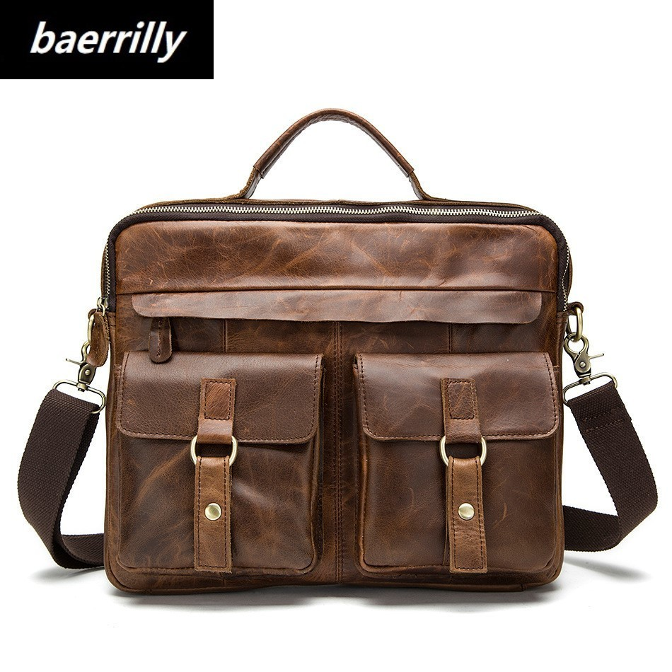 цена на Genuine cowhide Leather Men Bag male business Tote Shoulder Crossbody Bag messenger men fashion vintage bag Laptop Briefcase
